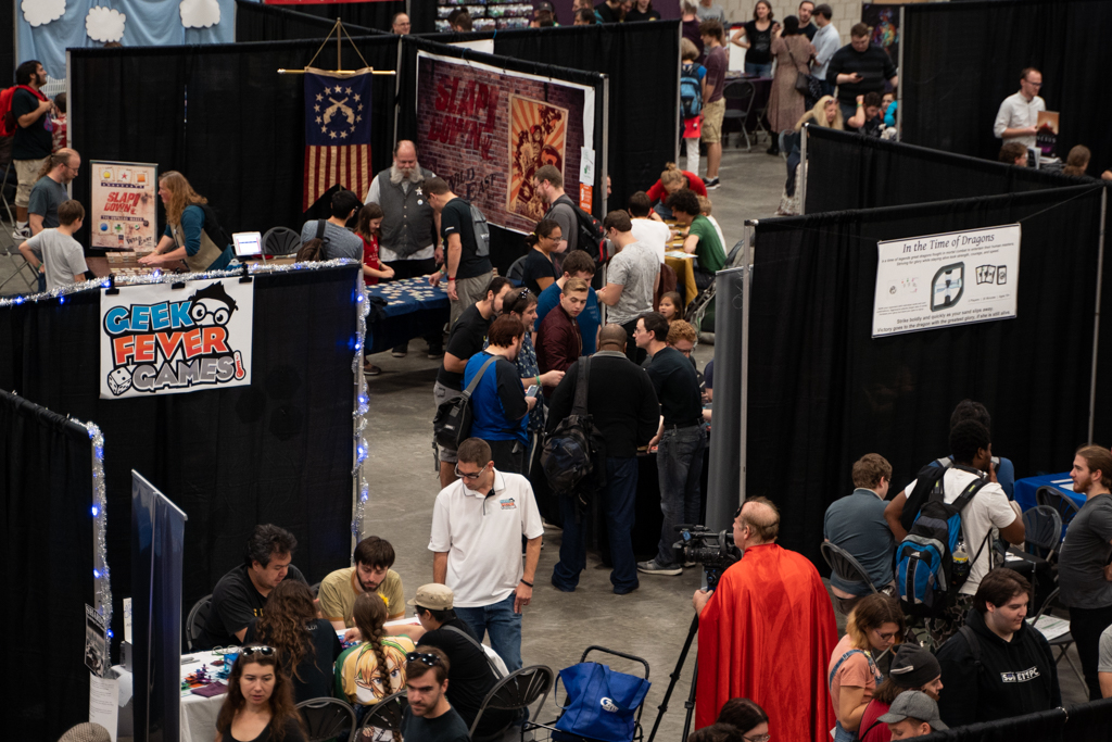 imageof the tabletop showcase exhibitor hall floor during the 2018 fig fest