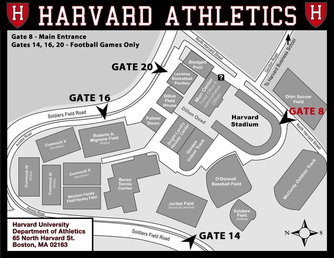 map of the harvard athletics complex in Boston